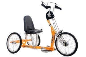 Modelo color amarillo de bicicleta adaptada